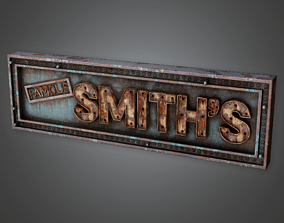 3D asset PAS - Post Apocalyptic Abandoned Sign 14 - PBR 1