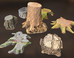 7 TREE STUMPS 3D asset