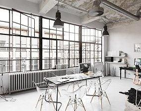 3D model Workplace Interior Cinema4D and Corona Renderer