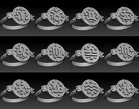 Zodiac signs ring set 3D model for printing Horoscope