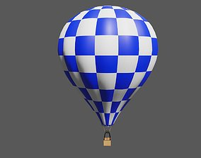 Blue Checkered Balloon - Balao Azul Quadriculado 3D asset