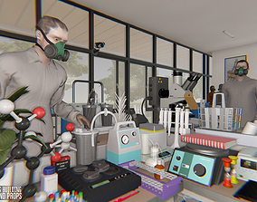 3D model Laboratory - big building characters and props