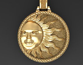 3D print model Sun face pendant
