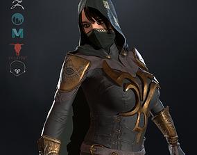 3D asset game-ready Assassin girl