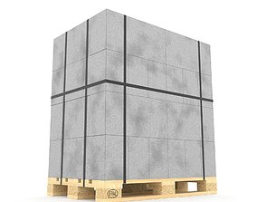 3D model Foam concrete on the pallet