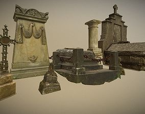 3D asset 6x Grave crypt and crosses - cemetery colection