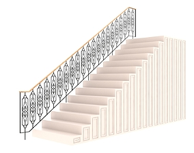 3D model Highly detailed railing 02