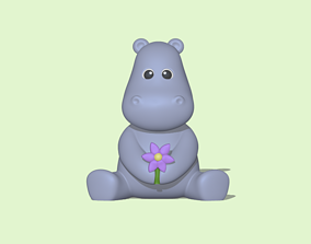 A cute Flower Hippo to decorate and 3D printable model