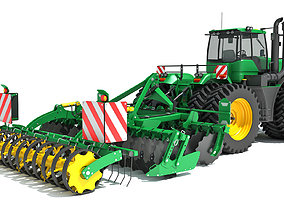harvester 3D model Tractor with Seed Drill