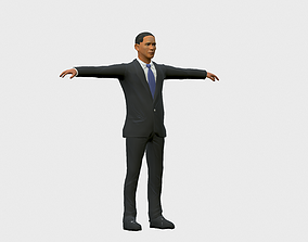 low-poly Obama Inspired 3D Character - Low-polygon and