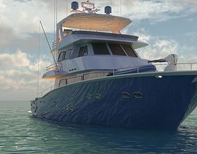 Yacht 3D model animated