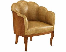 Vintage Leather Channel Back Petite Chair 3d model