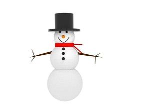 low-poly 3D Snowman