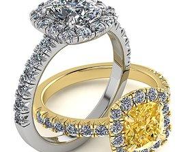 Elegant Cushion Halo Diamond Engagement Ring 3D Print 1