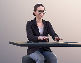 Laura 10704 - Business Woman Typing On PC 3D model