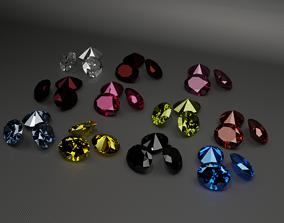 diamond oval silver 3D