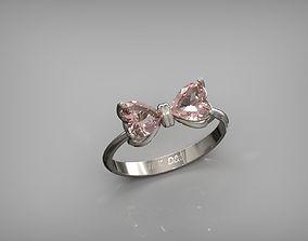 Bow Ring Heart Stone 3D printable model