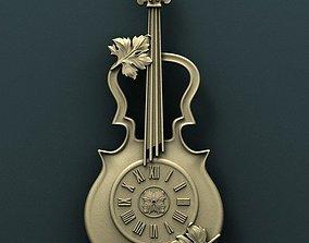Violin wall clock 3d stl model for cnc