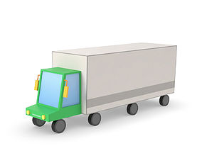 Truck lorry vehicle low poly simple cartoon 3D asset