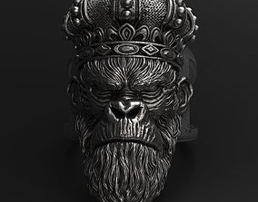 3D print model Monkey king with crown vol1 ring Jewelry