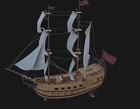 Sail Battleship Animated 3D model