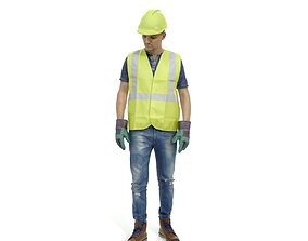Worker with Yellow Vest and Helmet 3D