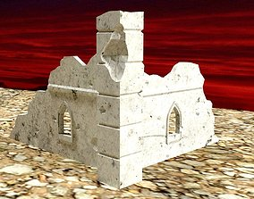 Corner Ruin Section WH40K scale 3D print model