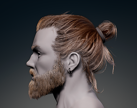 3D asset Game Hair - Man Real-time Hairstyle Beard and