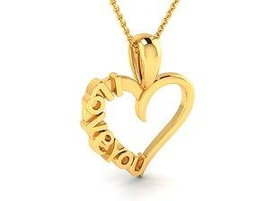 Heart shape I Love You pendant 3dm render detail