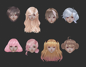 3D asset short hair hair style girl short hair cape 3
