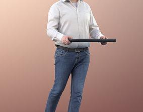 11303 Fabian - Man walking with tray buffet 3D model 1
