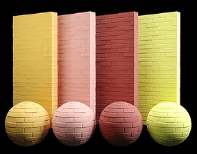 Painted Brick Tiles Texture Orange Red Yellow 3D model 1