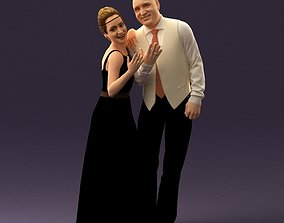 001033 skinhead man in white with woman in dress 3D