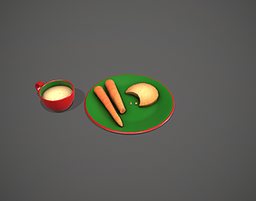 3D asset Santa Snack Plate - Red Cup and Green Plate