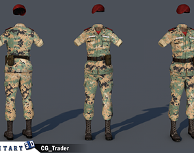 Lowpoly Military Female costume 3D Model VR / AR ready
