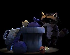 Raccoon and trash bin 3D model