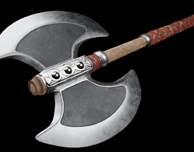 two-handed axe 3D model game-ready