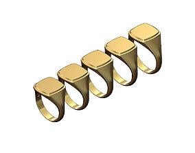 Engravable Stepped Square signet ring 3D printable model