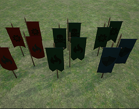 Middle Age War Banners 3D asset