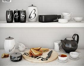 Kitchen set with sandwich 3D