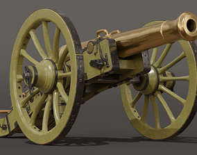 3D model French Napoleonic Cannon 12 Pounder