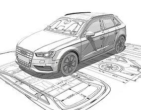 VR / AR ready Audi A3 Sportback 3d blueprint