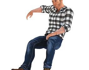 Young Man Sitting 3D asset