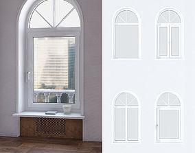 A set of arched plastic Windows 3D model