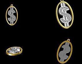 Dolar sign pendant w diamonds 3D print model