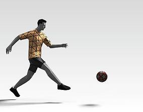Footballer Edged 2 Rigged PBR Low-poly 3D asset animated
