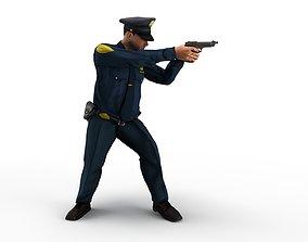 policeman gun in hand ready to shoot 3D