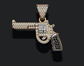 3D print model Gun pendant with gemstones