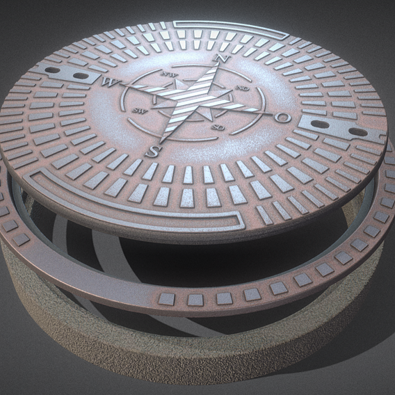 Rusty Sewer Cover 4 Textured High-Poly Version (Blender-2.91)