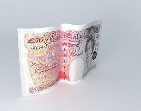 English Fifty Pound Note 1995 3D model